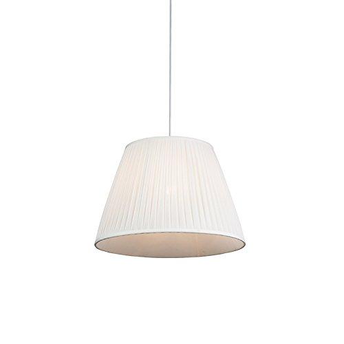 QAZQA - Retro Retro Hängelampe   Pendellampe   Pendelleuchte   Esstisch   Esszimmer Creme 45 cm - Plissee   Wohnzimmer   Schlafzimmer   Küche - Textil Rund - LED geeignet E27