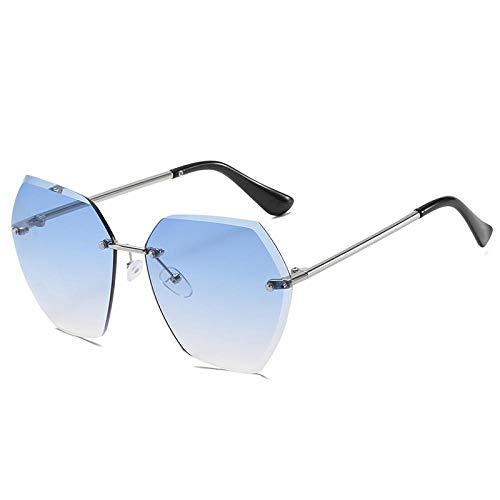 HAOMAO Gafas De Sol Sin Montura Irregulares Vintage para Mujer Gafas De Lente De Recorte Claro Azul