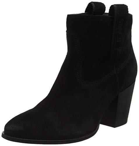 Tommy Hilfiger Damen Cowboy Suede MID Heel Boot Stiefeletten, Schwarz (Black 990), 38 EU