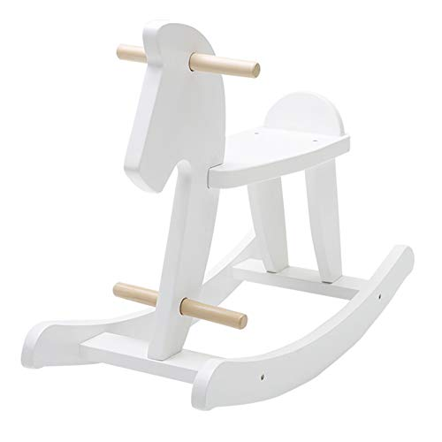 BAIDEFENG Wooden Rocking Horse, Baby Wooden Ride on Toys for 1-3 Year Old White Rocker Toy for Kid Toddler Ride Boy Girl Rocking