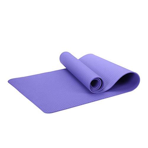 BMYONG Estera de Yoga de 6mm Mat de Fitness Antideslizante TPE Yoga Mat (Color : Purple, Size : 183x61x0.6cm)