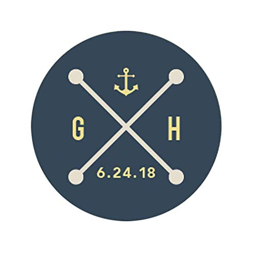 Custom Nautical Wedding Stickers for Favors Envelope Seals Modern Wedding Anchor Stickers, Favor Stickers, Nautical Monogram Wedding Label Personalized Stickers F5:31
