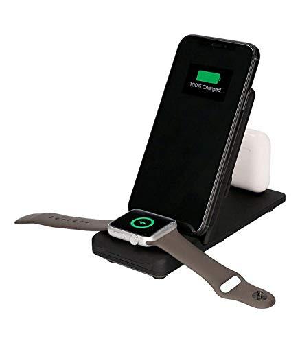 Ksix Cargador inalámbrico 3 en 1 para Smartphone, smartwatch y Auriculares