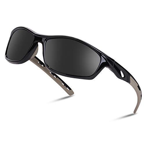 Occffy Hombre Gafas de sol deportivas polarizadas para béisbol, atletismo, ciclismo, pesca, golf Tr90 (HC001 Montura negra con lente negra)