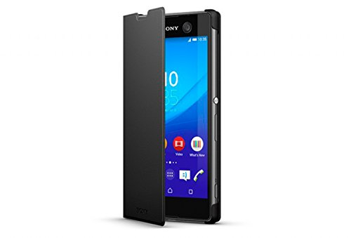 Sony Flip Hülle Schutzhülle Tasche mit Integrierter Stand-Funktion Kompatibel mit Sony Xperia C5 - Schwarz