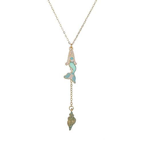 Collar Popular Purple Shell Pearl Cute Mermaid Tail Collares Pendientes para Niña Regalo Disney Cartoon Character FairyFashion Colgante