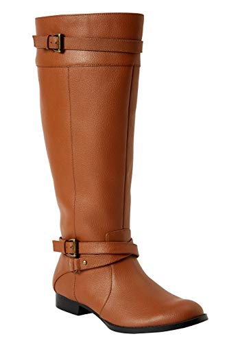 Comfortview Women's Wide Width The Janis Wide Calf Leather Boot - 8 1/2 M, Cognac
