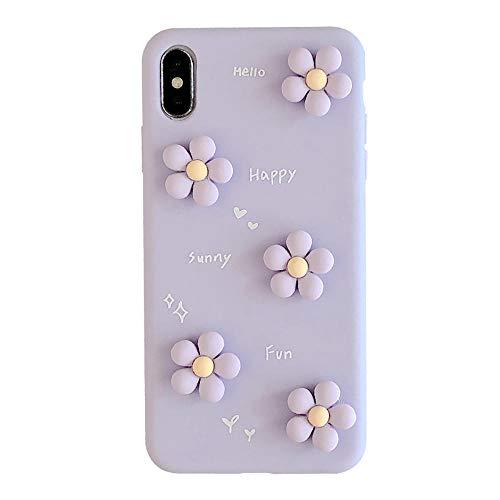 HUSDCX Funda para iPhone 12/12 Pro, tridimensional patrón floral a prueba de golpes, suave TPU flexible parachoques púrpura_XR