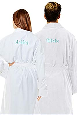 Zynotti Unisex Embroidered Custom Name Title Terry Velour Shawl Collar Spa Robe.
