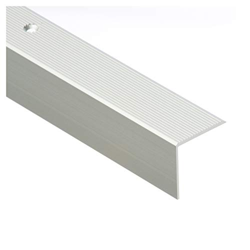 CEZAR W-AL-30R-C0-100 Treppenprofil/Treppenkantenprofil/Winkelprofil mit Riffelung geriffelt, Silber