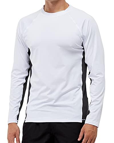 Arcweg Rashguard Homme Manches Longues M-3XL T-Shirt Anti-UV UPF 50+ Sechage Rapide Léger pour Surf Natation Plongée Plage (Blanc et Gris, XXL)
