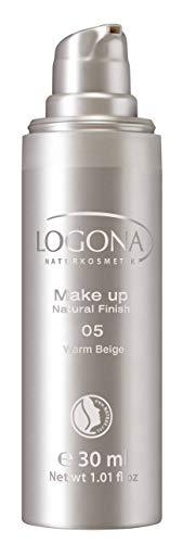 LOGONA Naturkosmetik Make-up Natural Finish No. 05 Warm Beige, Dunkler Hautton, Foundation mit Anti-Aging-Pflege, leichte bis mittlere Deckkraft, Bio-Extrake, Vegan, 30 ml