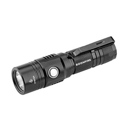 Cree XP-L LED Rechargeable Flashlight,Soonfire E07 USB Waterproof 1000 Lumen Compact EDC Flashlight with type 18650 3400mAh rechargeable Li-ion battery
