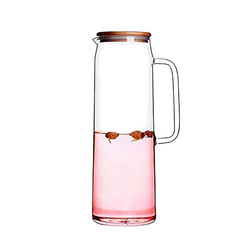 Qingzi Alto borosilicato de Vidrio Resistente al Calor Cubierta de bambú de Agua fría Botella de Vidrio Jarra de Vidrio 1.5 litros Botella de Agua con asa
