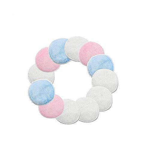 Oyfel Tampons Démaquillants fibre en Bambou 12 Pcs Blanc, Disques Coton Demaquillant Lavable et réutilisable Avec Sac,Tampons Nettoyage Lavable Du Visage, Mélange Bleu et Blanc et Rose