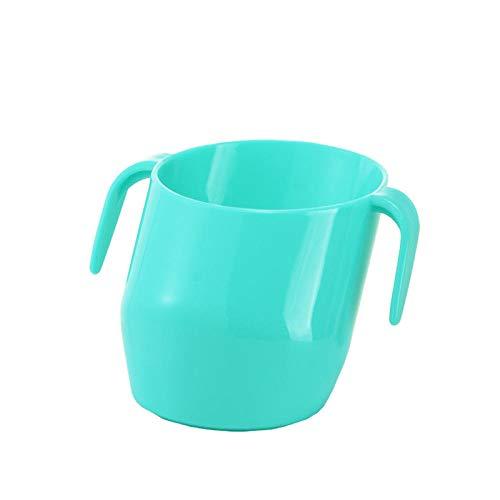 Taza de boca oblicua para bebés, ayuda para el entrenamiento de la taza para bebés 2 asas de pendiente única para que los niños puedan beber agua fácilmente, verde menta