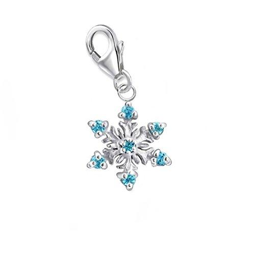 GH* KIDS Kleine Blau Kristall Schneeflocke Charm Anhänger 925 Echt Silber Kinder Baby Mädchen