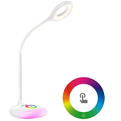 Sakruda Schreibtischlampe 256 Farben Base,Wiederaufladbare Tischlampe mit Akku,Schwanenhals Schreibtischleuchte,Augenpflege Leselampe für Kinder,Büro,Nachttischlampe mit USB Ladekabel,Touch-Dimmer