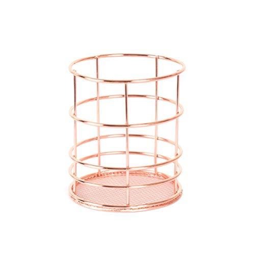 TOPBATHY - Portalápices de alambre metálico para papelería, bolígrafo, taza cosmética, pincel de maquillaje, cesta redonda para frutas, escritorio, contrapeso, organizador de almacenamiento (oro rosa)