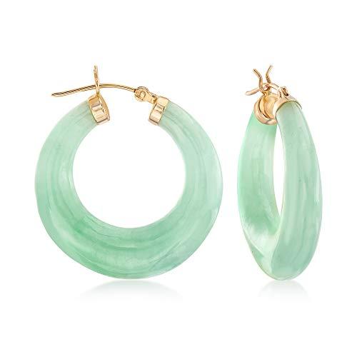 Ross-Simons Jade Hoop Earrings With 14kt Yellow Gold