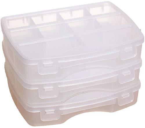 idea-station Sortimentskasten-Set 3 Stück, 19 x 15 cm, transparent, Aufbewahrungs-Box, Sortierbox, Sortier-Kasten, Setzkasten, Kleinteilemagazin, Plastikbox, Ordnungs-System, Ordnungs-Box