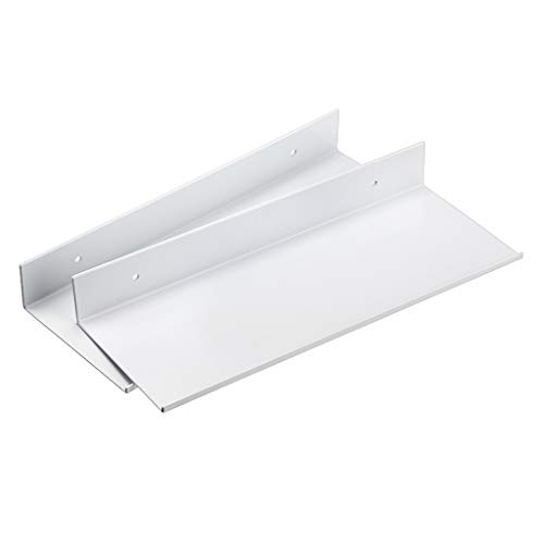 SUMNACON Set di 2 mensole da parete in lega di alluminio da parete per il bagno, per la casa, per soggiorno, ufficio, camera da letto, bagno, cucina (30 cm, bianco)