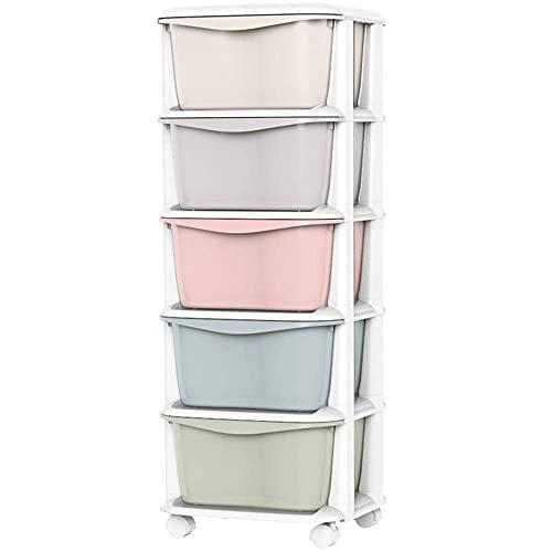 N/Z Inicio Equipo Armario de lavandería Cajones de Almacenamiento de plástico Cómoda Alta de 5 cajones (Color: Mezcla de Colores Tamaño: 92x37x38cm)