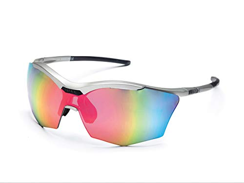 Zero RH+ Sunglasses Ultra Stylus, Occhiali/Maschere Sportglasses Permanent Unisex – Adulto, Smoke Flash Silver/Pink + Orange, One