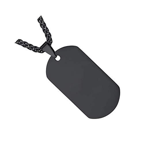 Colgante de cadena de acero inoxidable en blanco estilo ejército militar para hombres, mujeres, niños y niñas