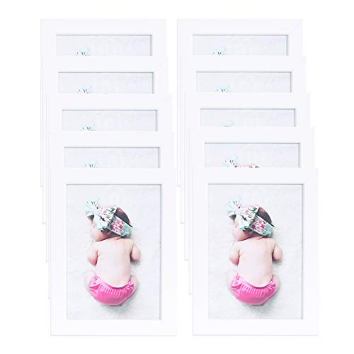 Muzilife Bilderrahmen 10er Set 13x18cm ohne Passepartout - Fotorahmen für Portrait/Galerie an der Wand Aufhängen Order Tische Stellen (Weiß)