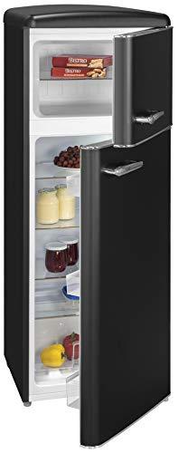 Exquisit Retrokühlschrank RKGC270-45-H-160E mattschwarz | Standgerät | 208 l Volumen | mattschwarz