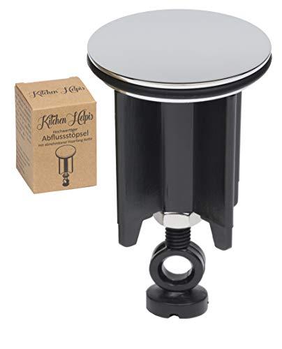 Kitchen Helpis® Qualitäts Waschbeckenstöpsel, Schwarz 1 STK, ⌀ 40 mm, höhenverstellbar zwischen 6,5 cm – 10 cm, Abflussstöpsel, Waschbecken-Flügelstöpsel, Ausgussstopfen, für alle gängigen Waschbecken