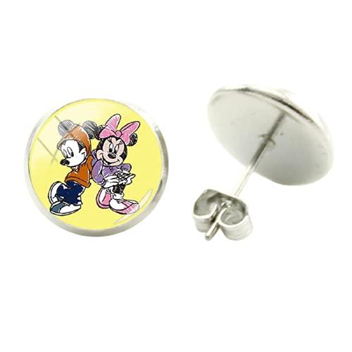 Disney Mickey Minnie - Pendientes con diseño de Mickey Mouse Donald Duck Picture Pendientes de cristal y cabujón