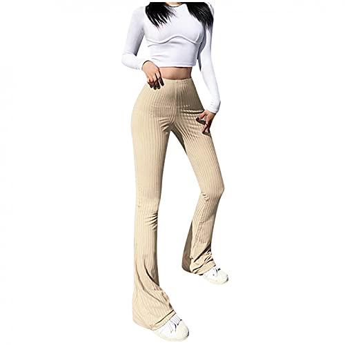 BaZhaHei Damen Mode Einfarbige Skinny High-Waist Freizeithosen Elastisch Weich und Bequem Sporthose Casual Lange Hosen Elegant Freizeithose Sexy Schlaghosen