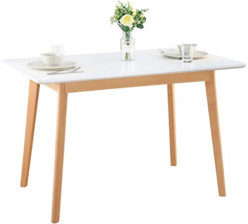 GreenForest Dining Table Modern Rectangular Top with Solid Wood Legs 47.2