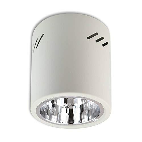 Aufbaurahmen weiß E27 für Aufbauleuchte – Aufbaustrahler aus Stahl 150x130mm – für LED und Halogen Leuchtmittel – Einbaustrahler, Rahmen