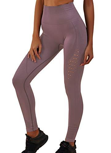 INSTINNCT Damen Yoga Lange Leggings Slim Fit Fitnesshose Sporthosen #2 Energie Stil - Lila1 L