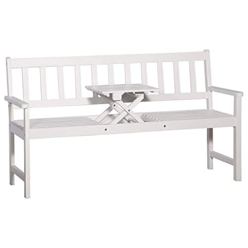 FAMIROSA 3-Seater Garden Bench with Table 158 cm Solid Acacia Wood White