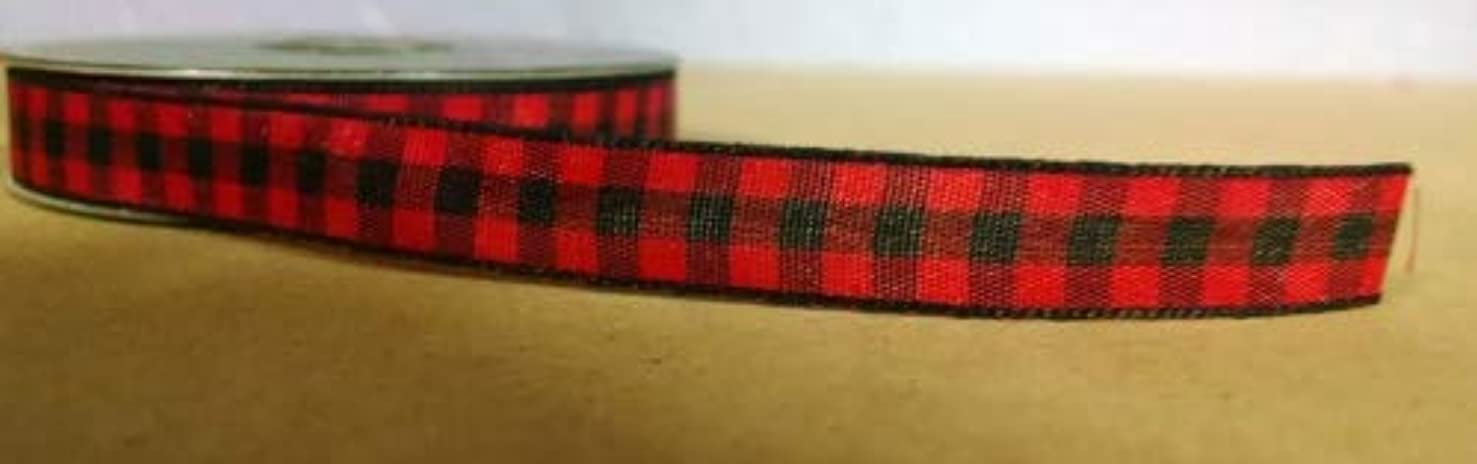 Red/Black Woodland Plaid/Check Ribbon - 5yds - 3/8