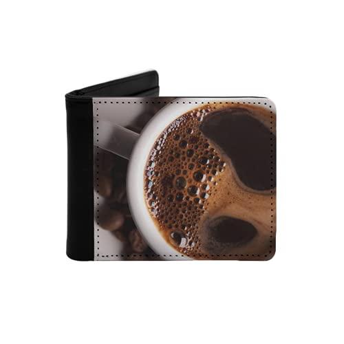 Cartera Delgada de Cuero para Hombre,Taza de café con Leche en el Fondo,Cartera Minimalista con Bolsillo Frontal Plegable