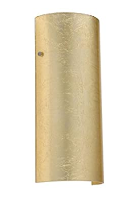 Besa Lighting 8192GF-SN 1X75W A19 Torre 14 Wall Sconce with Gold Foil Glass, Satin Nickel Finish
