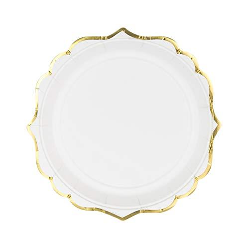 Lot de 6 assiettes en carton blanc avec bordure dorée - Pour mariage, fête