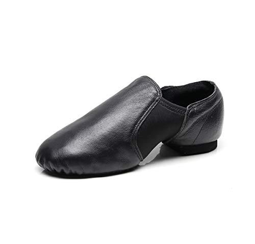 DoGeek Jazzschuhe Damen Tanzschuhe Mädchen aus Weichem Leder Dance Schuhe Geteilter Sohle für Kinder und Erwachsener, 40EU,Schwarz (Bitte wählen Sie eine größere Größe)