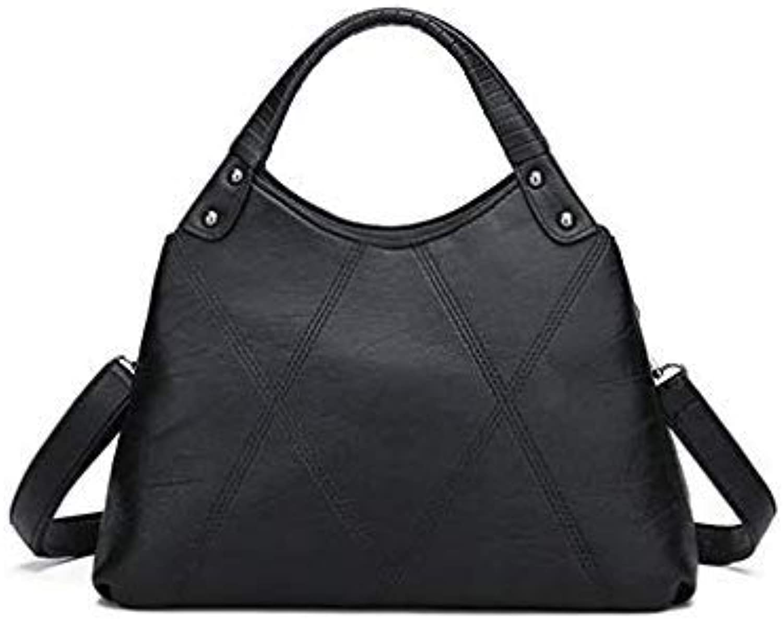 Bloomerang KUNZITE Luxury Handbag for Women Plaid Tote Bags Designer Female Pu Leather Messenger Bag 2 Independent Pocket Crossbody Bag Sac color Black