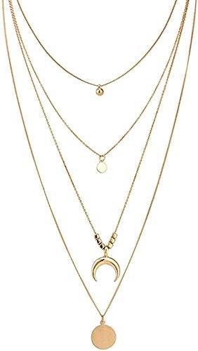 ZPPYMXGZ Co.,ltd Collar joyería Oro Color Redondo Hoja Luna Colgante Multicapa Cadena Collar para Las Mujeres niñas