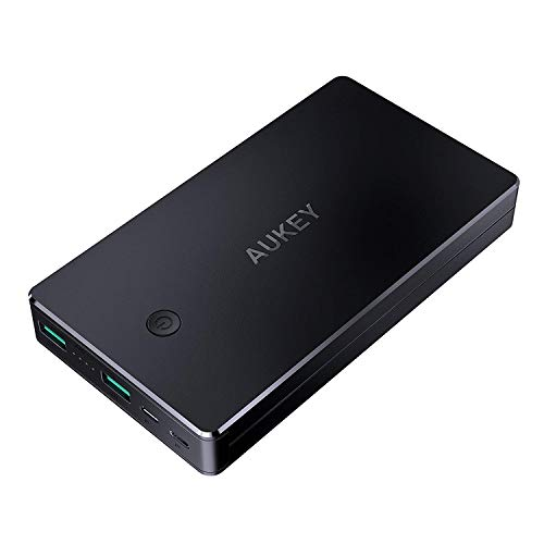 AUKEY Powerbank 20000mAh, Caricabatterie Portatile 2 Ingressi, Caricatore Portatile per iPhone 12 11 XS XR, iPad, Samsung, Tablet ECC. (Grigio Scuro)