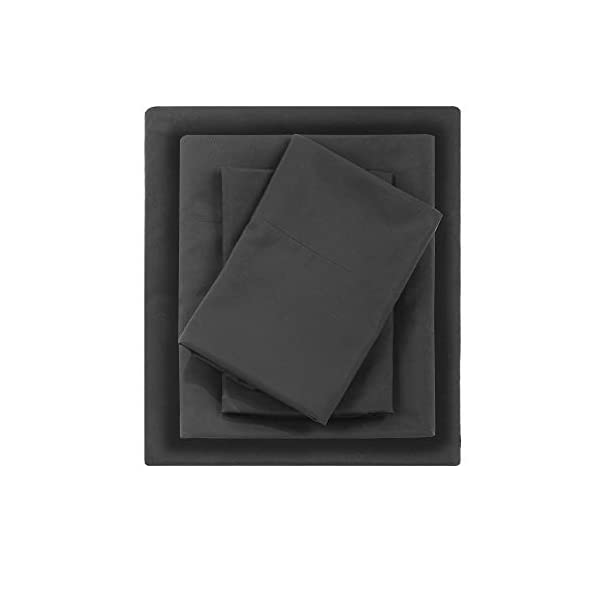 Madison Park Micro Splendor Color Fast, Wrinkle Resistant, Soft Sheets with 12″ Deep Pocket All Season, Cozy Bedding-Set, Matching Pillow Case, Full, Black, 4 Piece