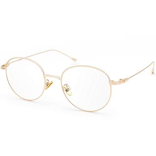 Livho Blue Light Blocking Glasses, Retro Round Fake Eyeglasses Frames Anti UV Ray Filter Computer Gaming Glasses Women (Rose Gold Frame,Transparent lens)