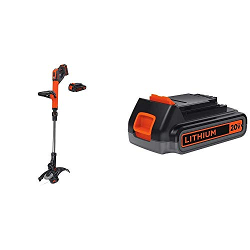 Best Price BLACK+DECKER 20V MAX String Trimmer/Edger with Extra Lithium Battery 2.0 Amp Hour (LSTE52...