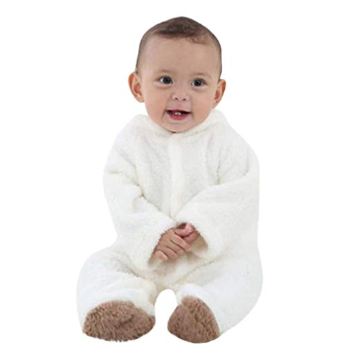 Covermason Grenouillères - Combinaisons et Barboteuses - Bébé Fille Garçon Combinaison De Neige Manteau à Capuche Hiver Combinaisons Pyjama Ensemble de Pyjama 3-12 Mois (Blanc, 6Mois)